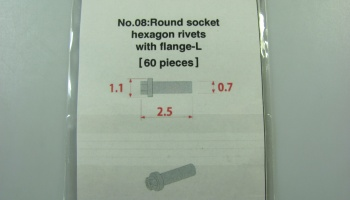 Metal Rivet No.8 Round Socker Hexagon Rivet Swith Flange-L - Model Factory Hiro