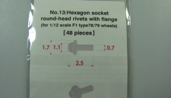 Metal Rivet No.13 Hexagon Socket Round Head Rivets With Flange - Model Factory Hiro
