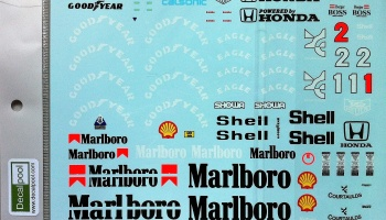 Full Markings Decal for Tamiya 1/12 McLaren MP4/6 Marlboro Honda - Decalpool