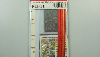 Seat Belt Set Red 1/20 With Shoulder Pads - Model Factory Hiro