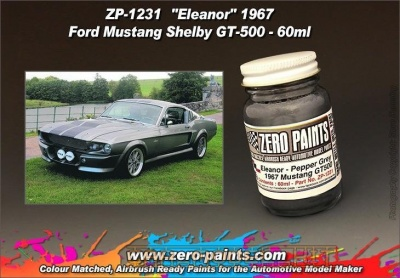 "Pepper Grey Paint for the ""Eleanor"" 1967 Ford Mustang Shelby GT-500 (60ml) - Zero Paints"