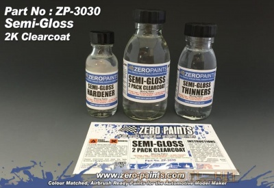 Semi-Gloss (Satin) 2 Pack Clearcoat 100ml (2K Urethane) - Zero Paints