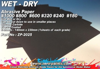 Wet and Dry Abrasive Paper #1000,800,600,320,240,180 - 6 off - Zero Paints