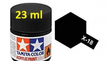 X-18 Semi Gloss Black Acrylic Paint 23ml  X18 - Tamiya