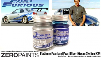 Fast and Furious Platinum Pearl/Pearl Blue Paints 2x30ml (Paul Walker Nissan Skyline R34) - Zero Paints