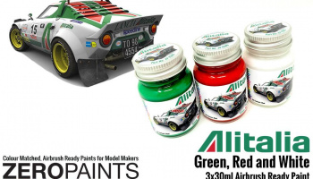 Alitalia (Lancia) Green, Red and White Paint Set 3x30ml - Zero Paints