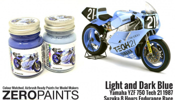 Light and Dark Blue Yamaha YZF 750 Tech 21 Paint Set 2x30ml - Zero Paints