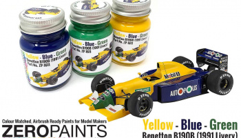 Benetton B190B (1991 Livery) Yellow - Blue - Green Paint Set 3x30ml - Zero Paints