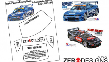 Calsonic/Kure Skyline R33 GT-R Pre Cut Window Painting Masks (Tamiya) - Zero Paints