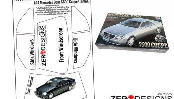 Mercedes Benz S600 Coupe Pre Cut Window Painting Masks (Tamiya) - Zero Paints