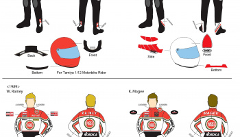 Yamaha YZR500 Lucky Strike Wayne Rainey / K. Magee  WGP 88 & 89' Rider or Starter Figure   Full Decal for Tamiya / Hasegawa