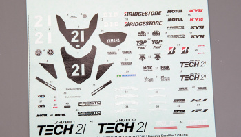 "Yamaha YZF-R1M ""Tech21"" Dress UP Decal For Tamiya 14133 - Hobby Design"