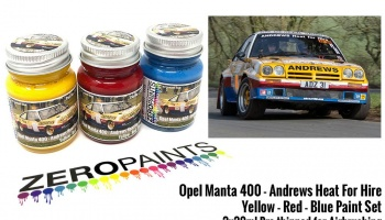 Opel Manta 400 Group B - Andrews Heat for Hire - Yellow, Red and Blue Paint Set 3x30ml - Zero Paints