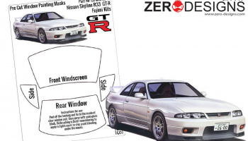 Nissan Skyline R33 GT-R Pre Cut Window Painting Masks (Fujimi) - Zero Paints