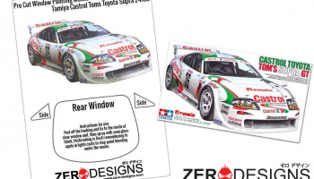 Castrol Toyota Tom's Supra GT Window Painting Masks (Tamiya) - Zero Paints