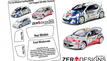 Peugeot 206 WRC Pre Cut Window Painting Masks (Tamiya) - Zero Paints