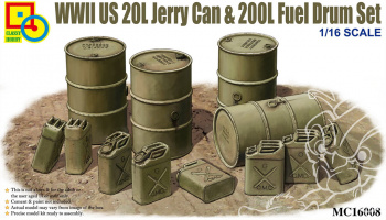 WWII US 20L Jerry Can & 200L Fuel Drum Set 1:16 - Classy Hobby