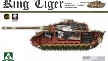 King Tiger Sd.Kfz.182 HENSCHEL TURRET w/ZIMMERIT /full interior/ w/New Track Parts 1/35 - Takom
