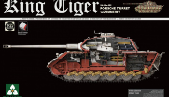King Tiger Sd.Kfz.182 PORSCHE TURRET w/ZIMMERIT /full interior w/New Track Parts 1/35 - Takom