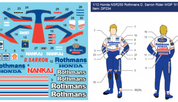 Honda NSR250 (Rothmans) WGP1991 D. Salon Rider 1:12 - Decalpool