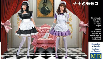 Maid cafe girls. Nana and Momoko in 1:35 - MB Master Box