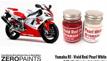 Yamaha YZF R1 Vivid Red / Pearl White Paints 2x30ml - Zero Paints