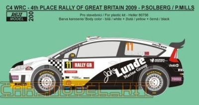 Citroen C4 WRC Rally GB 2009 Decals - REJI MODEL