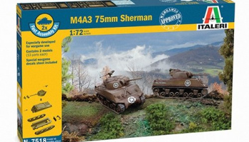 Fast Assembly tanky 7518 - M4A3 75 mm SHERMAN (1:72) – Italeri