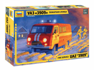 "Fire service UAZ ""3909"" (1:43) Model Kit 43001 - Zvezda"