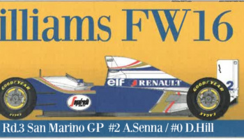Williams FW16 San Marino GP Fulldetail Kit 1/20 - Model Factory Hiro