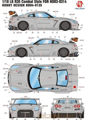 LB R35 Combat Style For HD03-0314 1/18 - Hobby Design