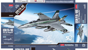 "Model Kit letadlo 12565 - USN F/A-18E ""VFA-195 Chippy Ho"" (1:72)"