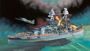 "Model Kit loď 7127 - U.S.S ARIZONA BB-39 w/TYPE 97""KATE"" CARRIER BOMBER ""PEARL HARBOR ATTACK"" 7 DECEMBER 1941 (1:700)"