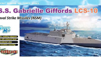 Model Kit loď 7147 - U.S.S. Gabrielle Giffords LCS-10 w/NSM (1:700) - Dragon
