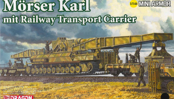 Model Kit military 14132 - Morser Karl mit Railway Transporter Carrier (1:144) - Dragon
