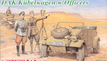 DAK KÜBELWAGEN W/OFFICERS (1:35) Model Kit 6364 - Dragon