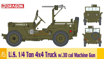 1/6 U.S. 1/4 Ton 4x4 Truck w/.30 cal Machine Gun (1:6) Model Kit 75050 - Dragon