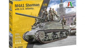 M4A1 Sherman with U.S. Infantry (1:35) Model Kit 6568 - Italeri