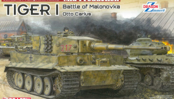 Tiger I Mid-Production w/Zimmerit Otto Carius (Battle of Malinava Village 1944) (1:35) Model Kit 6888 - Dragon