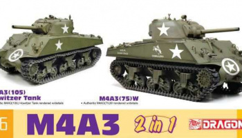 Model Kit tank 75055 - M4A3 105mm Howitzer Tank / M4A3(75)W (2 in 1) (1:6)