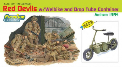 Model Kit figurky 6585 - RED DEVILS w/WEELBIKE DROP TUBE CONTAINER (ARNHEM 1944) (PREMIUM ED.) (1:35)