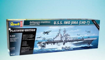 Amphibious Assault Ship U.S.S. IWO JIMA (LHD-7) (1:350) Plastic Model Kit loď 05109 - Revell