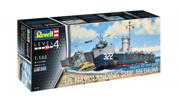 US Navy Landing Ship Medium (Bofors 40 mm gun) (1:144) Plastic Model Kit loď 05169 - Revell