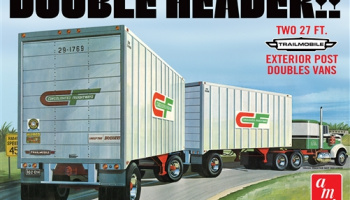 """DOUBLE HEADER"" TANDEM VAN TRAILERS 1:25 SCALE MODEL KIT - AMT"