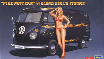 "Volkswagen Type 2 Delivery Van ""Fire Pattern"" w/Blonde Girl's Figure 1/24 - Hasegawa"
